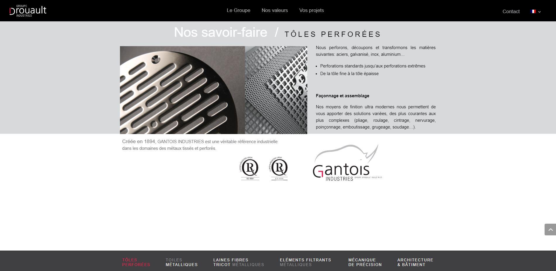 Page du site web Groupe Drouault