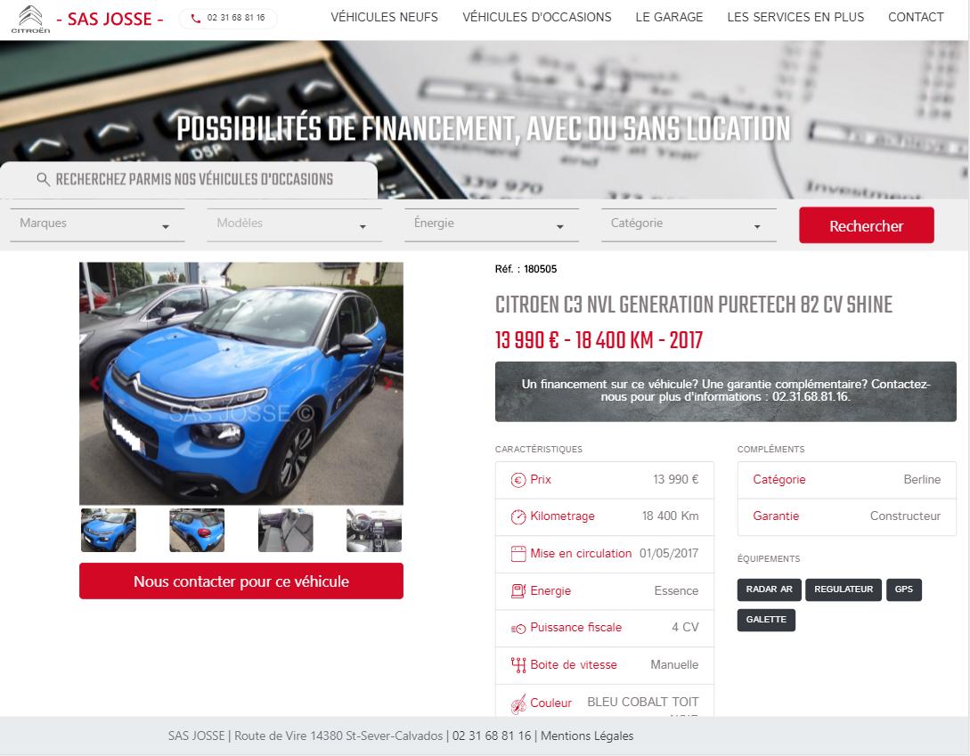 Fiche détaillée d'un véhicule sur le site